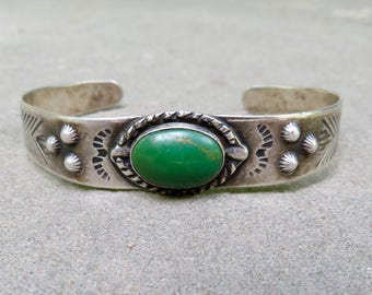 Turquoise and Silver Cuff, Vintage Fred Harvey Turquoise and Sterling Bracelet, Vintage Tourist Jewelry, Sterling and Turquoise Jewelry