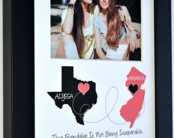 Long distance best friend gift, friendship quote art, going away gift for friend, customized with any two places, map art, bff  art gift