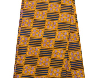 Gold and Blue Kente cloth /Kente fabric sold per yard/ Kente print fabric/ Kente fabric/ Kente print / African fabric/ KF259B