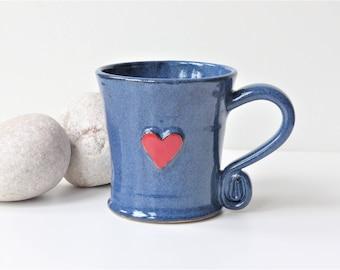 Red Heart - Blue Ceramic Mug -  Pottery Stoneware Handthrown UK Love