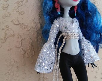 Ever After Wrap Top, Alien Sci-Fi Sparkle Goth Doll Outfit for Monster Bratz Barbie Dolls
