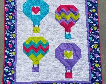 Hot Air Balloon and Rainbows Baby or Toddler Quilt