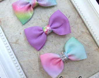 Pastel Rainbow Baby Hair Bows, Toddler Bows, Girl Hair Bow clips, Bowtie Style Bows, Fringe Clips,