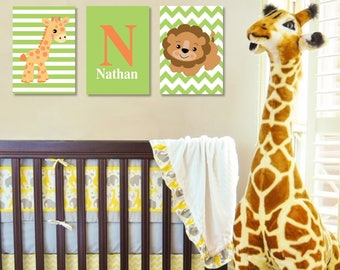 Personalized Jungle Animals Nursery Wall Art - Set of 3 Prints- Safari Nursery Prints - Giraffe - Lion - Baby Nursery -Colors can be changed
