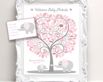 Elephant Baby Shower Guest Book - 11x14 Sign-In Tree Poster -ELEPHANT Theme Baby Shower Guestbook Alternative - 135 leaves -READ DESCRIPTION