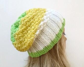 Yellow White Green Slouchy Beanie - Hand Knit Hat - Women Knit Hat - Acrylic Slouchy Hat - Vegan Friendly - ClickClackKnits