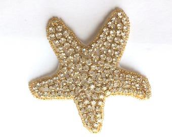 Crystal applique, sea star, starfish applique, embroidery beaded rhinestone crystals applique motif crafts