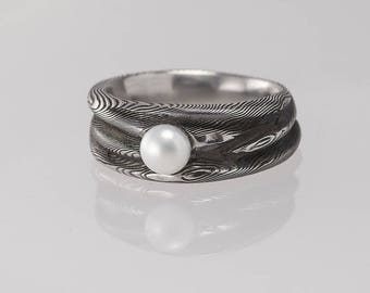 Romantic PEARL Wedding or Engagement Ring, Womens rustic hand forged DAMASCUS steel ring, ring for her,ladies ring,female ring - Water Nymph