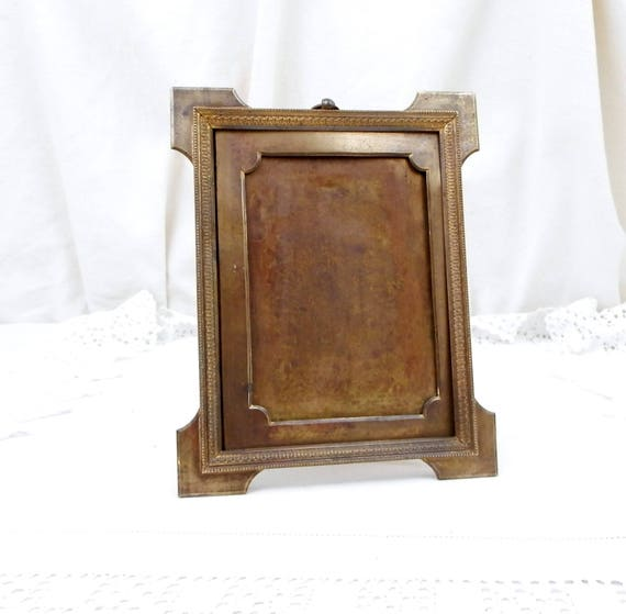 Antique French Gold Gilt Brass Portrait Frame, Metal 19th Century Free Standing Picture Frame Made in France, Shabby Chateau Cottage Chic