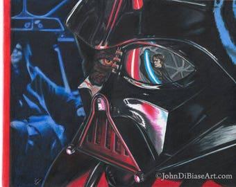 Color Pencil / Marker Drawing Print of Darth Vader vs Anakin