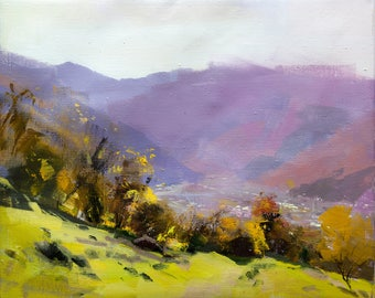 Modern landscape painting nature impressionist art, Oil painting mountains, fall painting oil original canvas painting