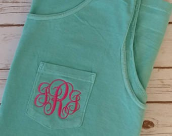 Monogrammed  Comfort Color Pocket Tank