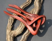 Sculptured Hairfork, handcaved from Redheartwood