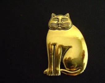 Vintage Laurel Burch Gold Tone Cat Brooch