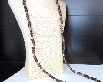 Extra Long Glass Bead Necklace 35 Inches Purle Amethyst Color Silver Detail Single Strand