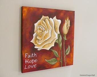 original acrylic painting, wall decor, painting on canvas, rose painting, christian wall art, small original painting, inspirational art