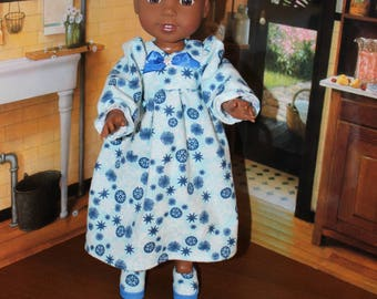 Nightgown with Blue Stars Print Fleece Pajamas with Slippers to fit the wellie wisher, Heart to Heart , other 14 5 inch dolls FREE SHIPPING