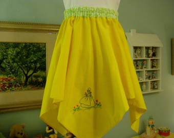 Vintage  Hand Embroidered Card Table tablecloth Twirly Skirt, Girl's size 6