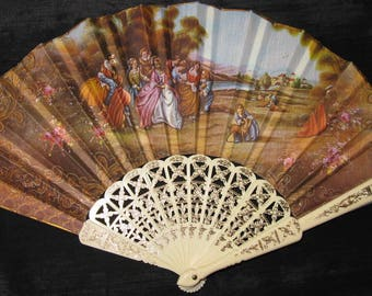 Hand Held Fans, hand fan folding french fabric design vintage