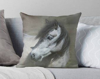 Horse pillow cover, rustic decor, barn decor, horse cushion cover, rustic pillow, brown, grey, khaki, green, rustic home decor, horse decor