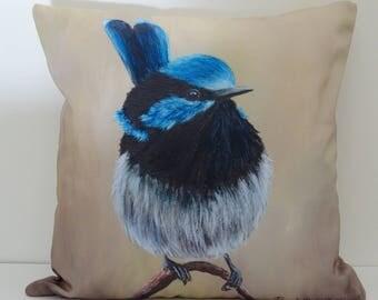 Decorative Throw Pillow Cushion Cover Australian Bird Art Wildlife Colorful Throw Fine Art Home Decor  Superb Fairy Wren