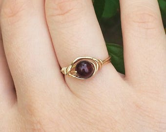 14k Gold Garnet Ring, Wire Wrapped Ring, Size 6