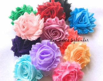 "Shabby Flower- 100 pc grab bag- Shabby Flowers -- 2.5"" flower-  DIY hair flower- Shabby trim- Frayed flowers- Headband flower"