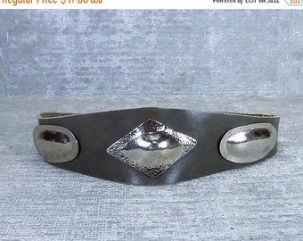 30OFF Vtg 70s blk leather belt