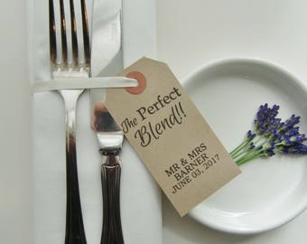 Rehearsal Dinner-THE PERFECT BLEND-Personalized Rehearsal Place Cards-Modern Script Font-Rehearsal Dinner Ideas-Vintage Style Tags-Wedding
