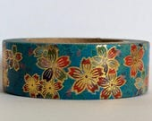 "The Prettiest Foil Inlay Washi Tape Ever! ""Cloisonné Sakura"" in Blue 15mm x 10 meters"