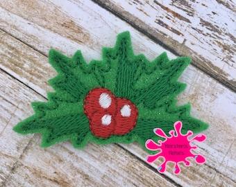 UNCUT Holly, embroidered felt embellishment felties (set of 4)