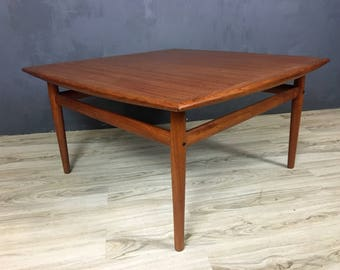Danish Modern Teak Coffee Table in Style of Greta Jalk