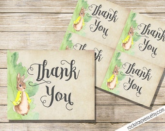 Peter Rabbit Thank You Card, Baby Shower, Printable _1249YELLOW