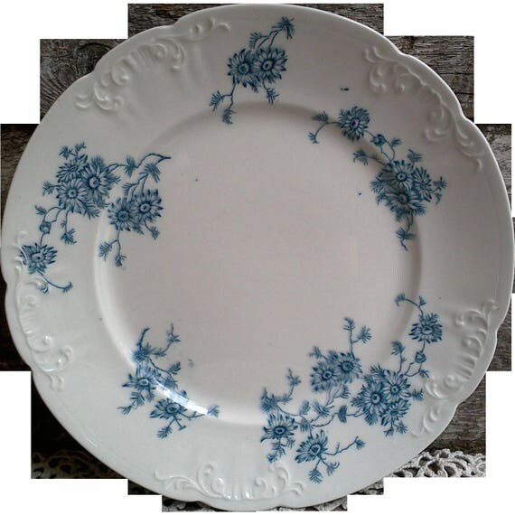 "IRONSTONE BLUE FLORAL Side Plate, 7 3/4"", Blue Transferware, Millais, Colonial Potteries, Stoke England, Serving, Embossed Relief"