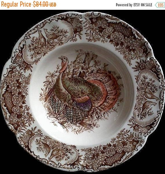 50% off Vintage Johnson Brothers Wild Turkey Soup Bowl, Holiday, Thanksgiving Soup Bowl