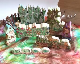 Garden Blocks for Dollhouse Lanscape, Wooden Garden Toy