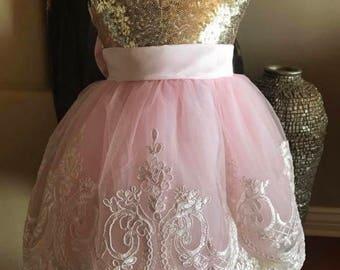 Gold pink dress l Pageant Dress | Flower Girl Dress | Wedding Dress | Bridal Dress | Easter Dress | Lace Dress | Pink Dress | White Dress |