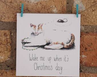 Illustrated Cat Christmas Card