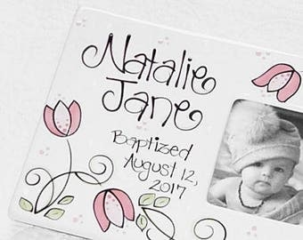 Personalized Baptism Picture Frame with Pink Flowers for Girls