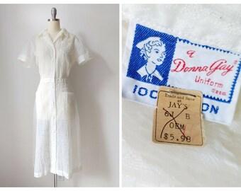 1950s Deadstock Nurse Uniform | Vintage 50s Sheer Nylon New Old Stock Nurse's Dress | Short Sleeve Knee Length Shirt Dress