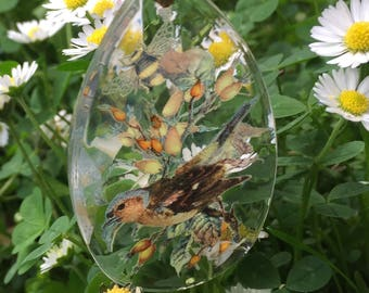 Chandelier drop suncatcher with finch and bee.