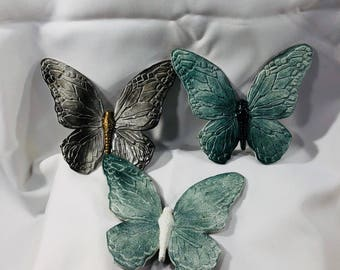 Retro Homco Home Interior BUTTERFLIES Butterfly Wall Decoration Painted Green White Gold Set of 3