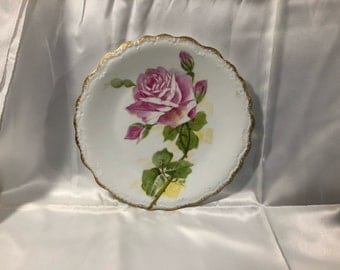 Stunning Limoges France Hand Painted Plate Pink Roses Scalloped Edges Gold Trim LDBC Flambeau Signed 8 5/8 Inches