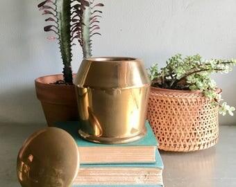 vintage copper lidded container urn ginger jar