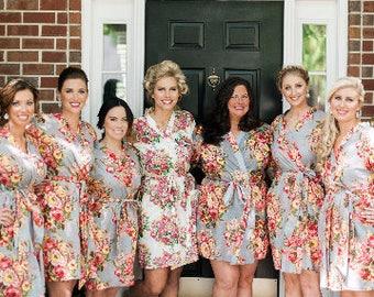 Wedding Robes, Bridal Robes, Floral Bridesmaid Dress, Boho Midi Dress, Japanese Clothing, Flower Dress, Kimono Dressing Gown, Cotton Dress