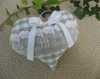 heart door grey houndstooth gingham lace button cushion cottage chic
