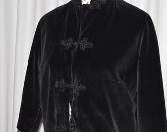 Vintage Black Velvet Jacket Chinese Asian style 1950s By DYNASTY Made in Hong Kong British Crown Colony