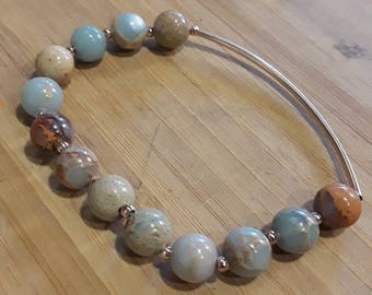 5mm African Opal w/copper brass accent