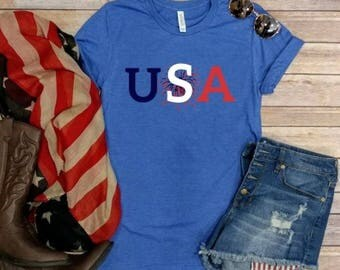 USA! 4th of July tee, Graphic Tee, Forth of July, Patriotic, Red White and Blue