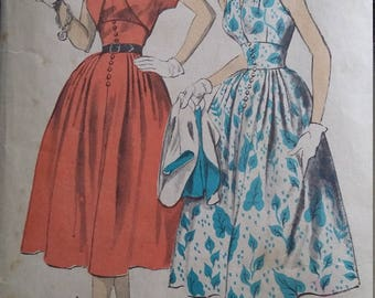 Vintage Advance 6077 Sewing Pattern Size 12 Bust 30 Hip 33 Halter Sundress and  Lined Bolero